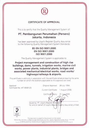 Certificate of Approval ISO 9001:2000
