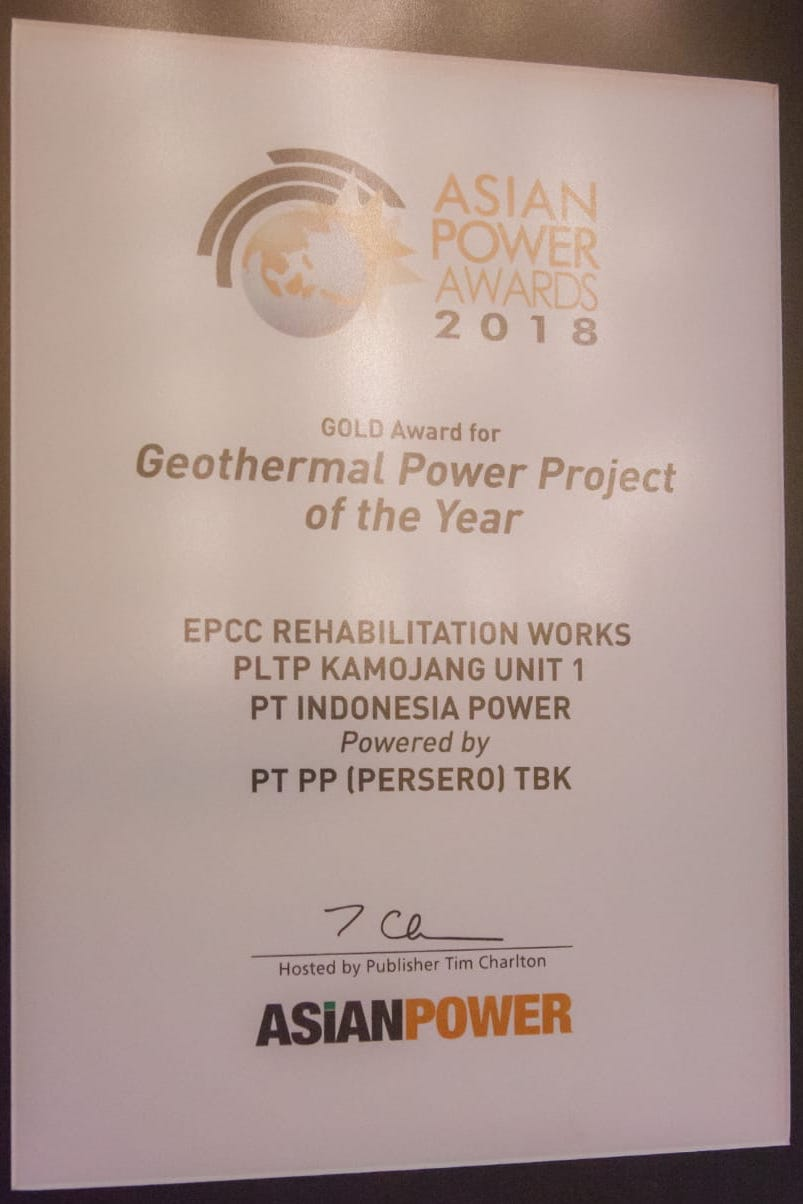 ASIAN POWER AWARDS 2018 (Gold Award for Geothermal Power Project of The Year)