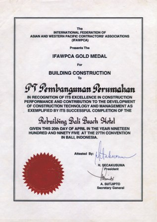 IFAWPCA Gold Medal for Building Construction