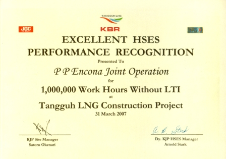 Excellent HSES Performance Recognition at 1.000.000 work hours without LTI