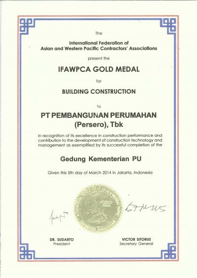 IFAWPCA Gold Medal in Recognition of its Excellence in Construction Performance and Contribution to the Development of Construction Technology and Management as Exemplified by its Successful Completion of the Gedung Kementerian PU