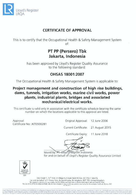 Certificate of Approval for OHSAS 18001:2007