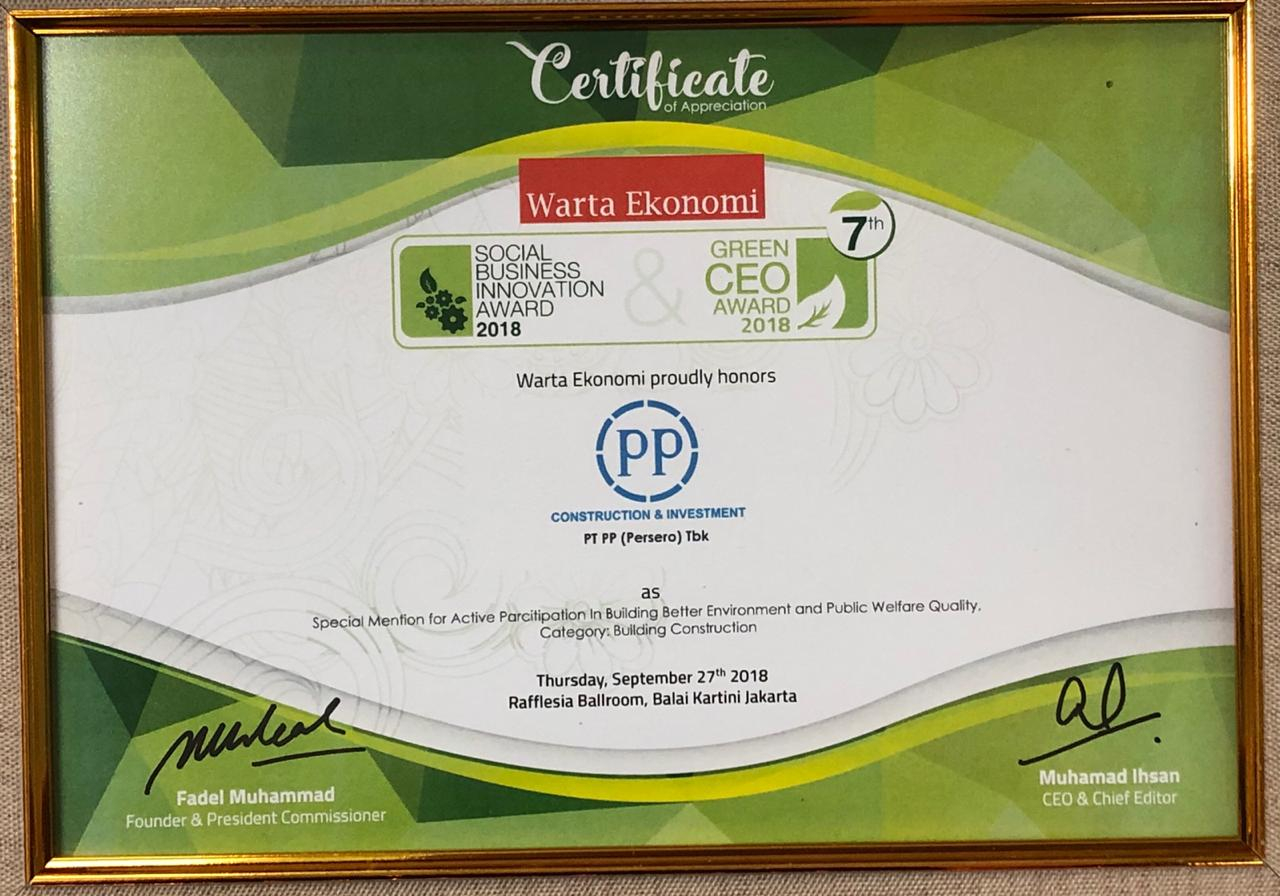 Social Business Innovation Award 2018 (Special Mention for Active Participation in Building Better Environment and Public Welfare Quality, Category: Building Constrction)