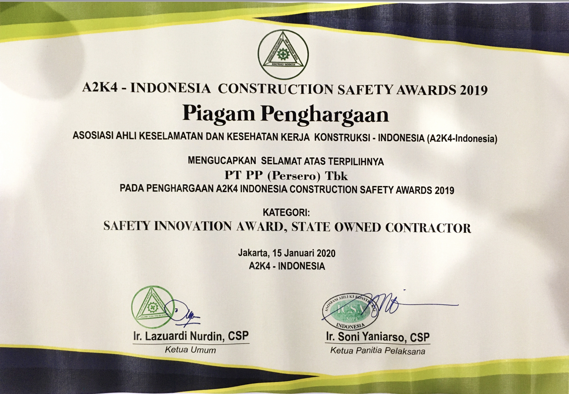 A2K4 - INDONESIA CONSTRUCTION SAFETY AWARDS 2019