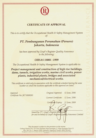 Certificate of Approval : OHSAS 18001:1999