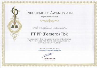 INDOCEMENT AWARD 2012 Indocement Contractor Award : Big Scale As A Nominee For The Best Innovation In Customer Satisfaction