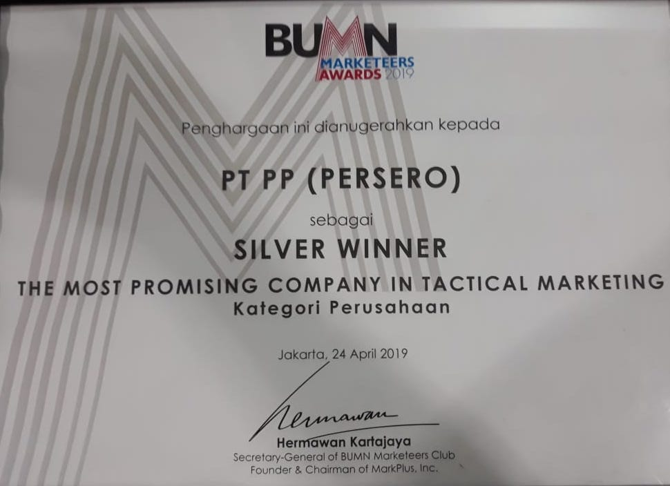 BUMN Markeeters Awards 2019 (Silver Winner - The Most Promising Company in Tactical Marketing Kategori Perusahaan)