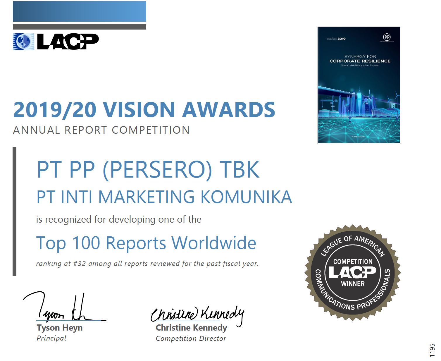 LACP COMPETITION WINNER (TOP 100 REPORTS WORLDWIDE)